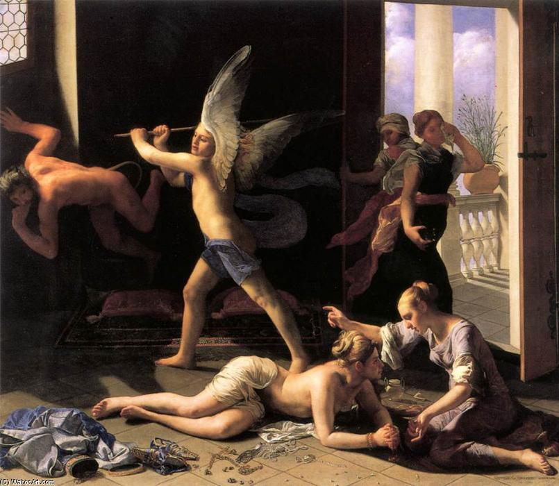 Buy Museum Art Reproductions | Martha Rebuking Mary for her Vanity by Guido Cagnacci (1601-1663, Italy) | WahooArt.com