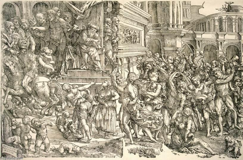 Massacre of the Innocents, Wood by Domenico Campagnola (1500-1564, Italy)
