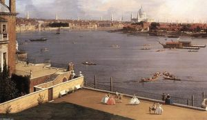 Giovanni Antonio Canal (Canaletto) - London: The Thames and the City of London from Richmond House (detail)