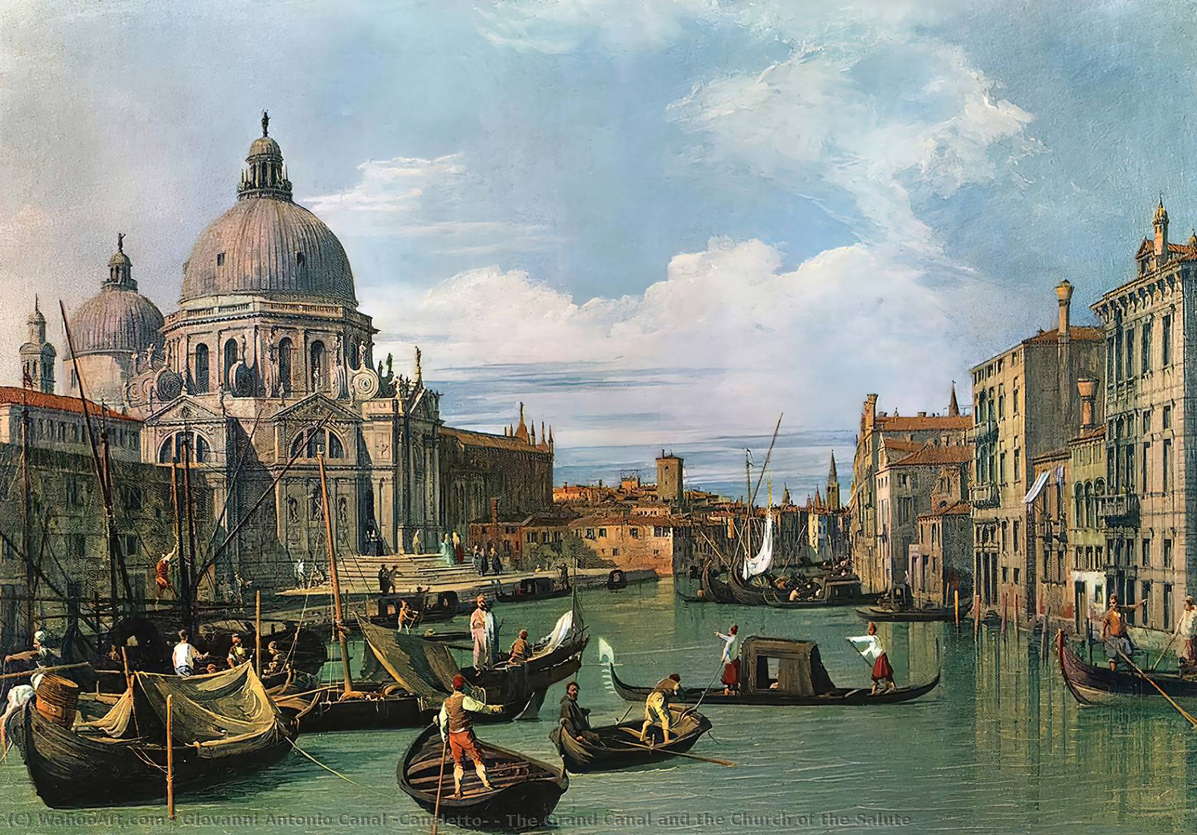 The Grand Canal and the Church of the Salute, Oil On Canvas by Giovanni Antonio Canal (Canaletto) (1697-1768, Italy)