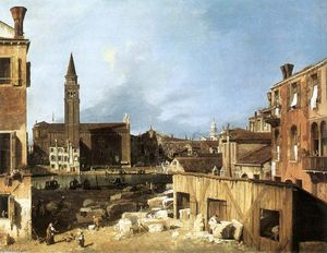 Giovanni Antonio Canal (Canaletto) - The Stonemason's Yard