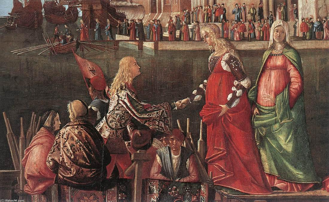 Meeting of the Betrothed Couple (detail), Tempera by Vittore Carpaccio (1465-1526, Italy)
