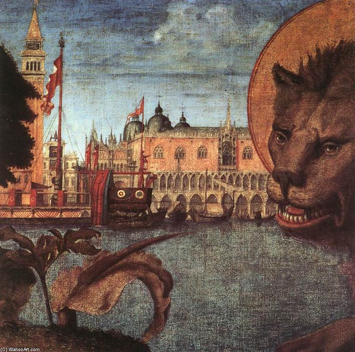 The Lion of St Mark (detail), Tempera by Vittore Carpaccio (1465-1526, Italy)