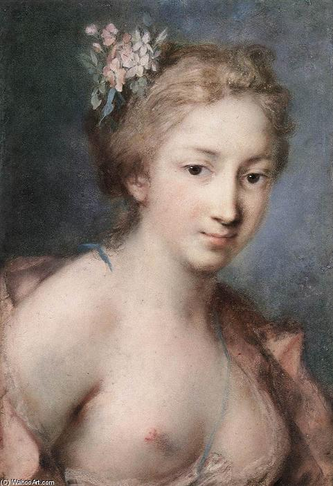 Flora, Pastel by Rosalba Carriera (1675-1757, Italy)