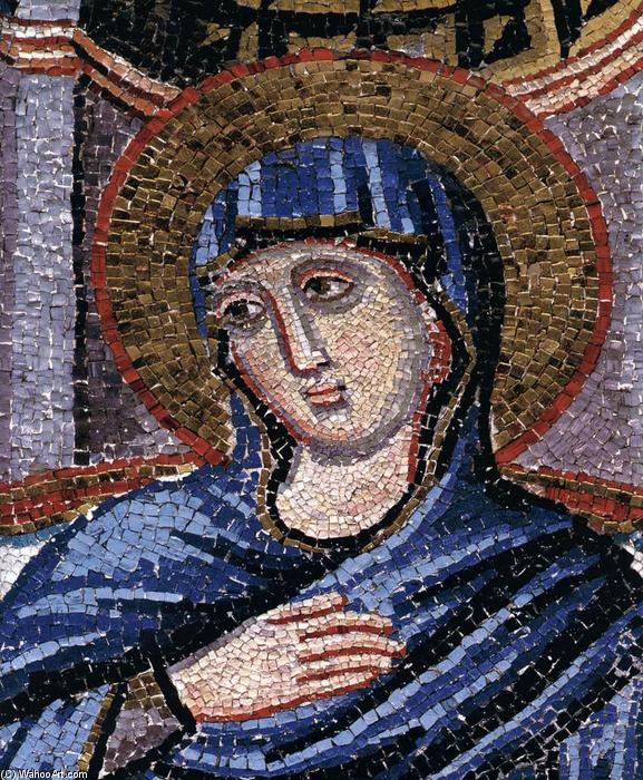 Annunciation (detail), Mosaic by Pietro Cavallini (1240-1330, Italy)