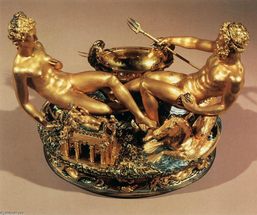 Salt Cellar, 1540 by Benvenuto Cellini (1500-1571, Italy) | Museum Art Reproductions Benvenuto Cellini | WahooArt.com