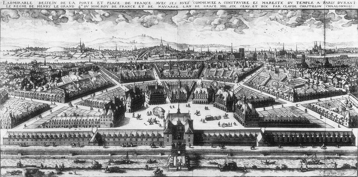 Project of the Place de France in Paris, Engraving by Claude Chastillon (1559-1616, France)