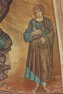 Cimabue - Christ Enthroned between the Virgin and St John the Evangelist (detail)