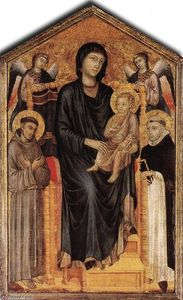 Cimabue - Madonna Enthroned with the Child, St Francis, St. Domenico and two Angels