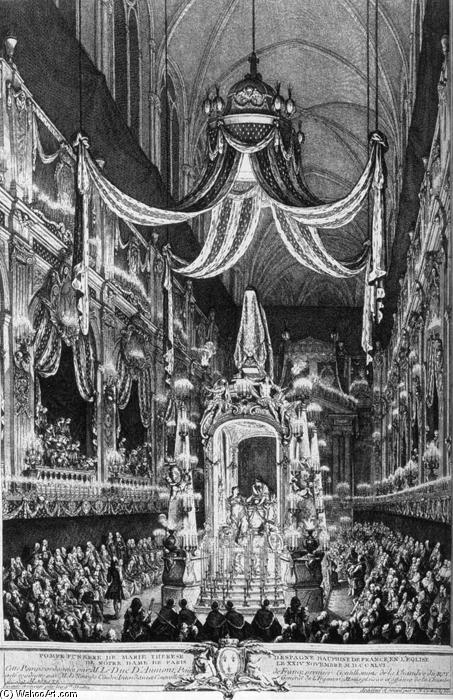 Funeral Pomp of the Dauphine, Marie-Thérèse of Spain, Engraving by Charles Nicolas Cochin (1715-1790, France)