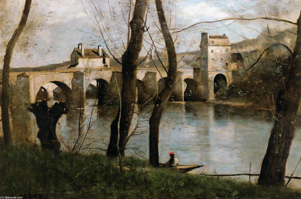 The Bridge at Mantes, Oil On Canvas by Jean Baptiste Camille Corot (1796-1875, France)