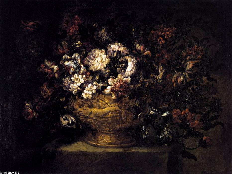 Vase of Flowers, Oil On Canvas by Gabriel De La Corte (1648-1694, Spain)