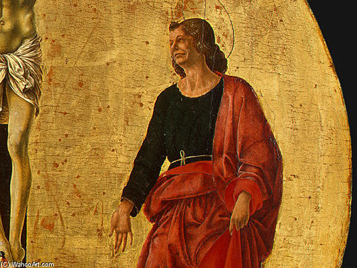 Griffoni Polyptych: The Crucifixion (detail) by Francesco Del Cossa (1436-1477, Italy) | Oil Painting | WahooArt.com