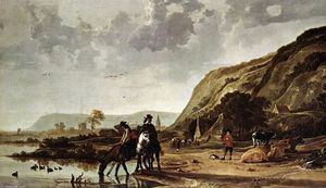 Aelbert Jacobsz Cuyp - Large River Landscape with Horsemen