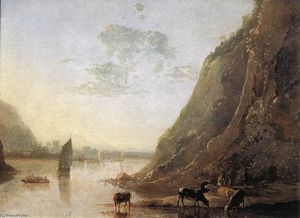 Aelbert Jacobsz Cuyp - River-bank with Cows