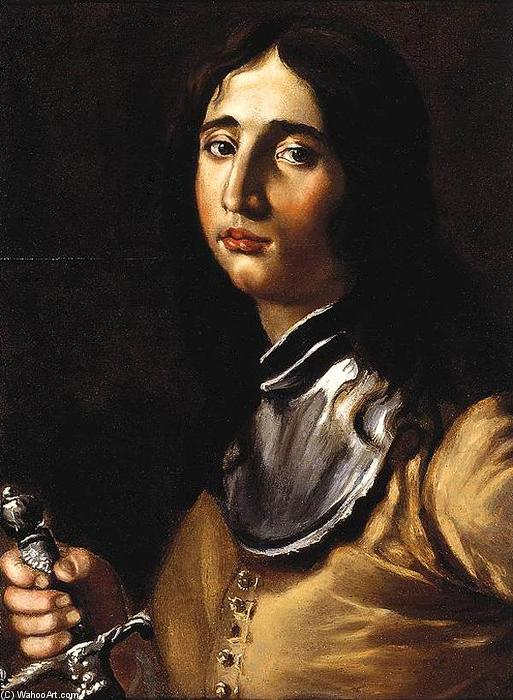 Portrait of a Young Soldier with a Lance by Cesare Dandini (1596-1657, Italy) | Famous Paintings Reproductions | WahooArt.com
