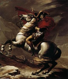 Jacques Louis David - Bonaparte, Calm on a Fiery Steed, Crossing the Alps