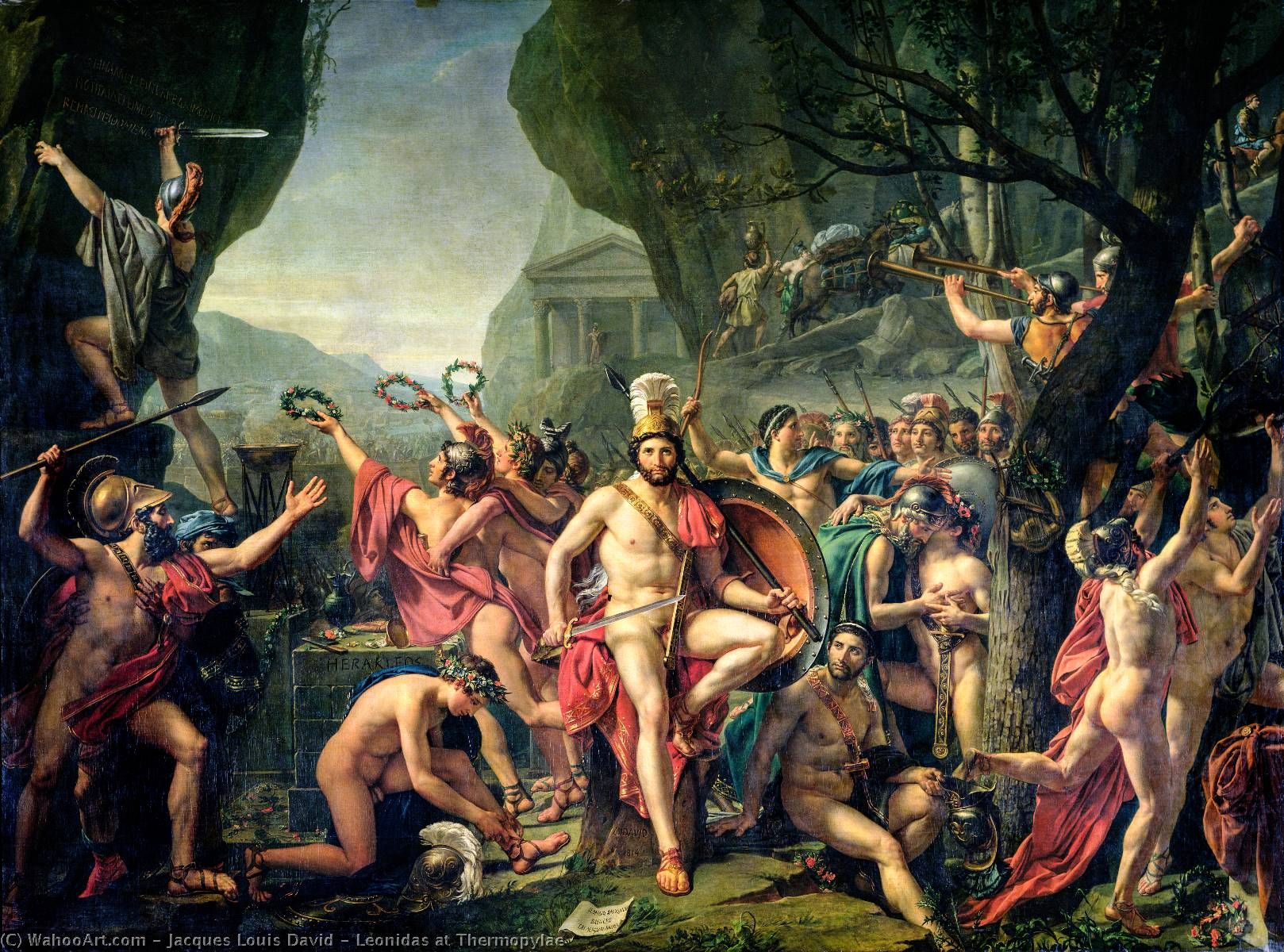 Leonidas at Thermopylae, 1814 by Jacques Louis David (1748-1800, France) | Museum Quality Reproductions | WahooArt.com