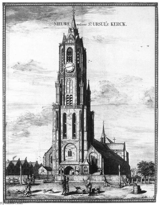 Exterior of the Nieuwe Kerk in Delft, 1667 by Coenraet Decker (1650-1685, Netherlands) | Oil Painting | WahooArt.com