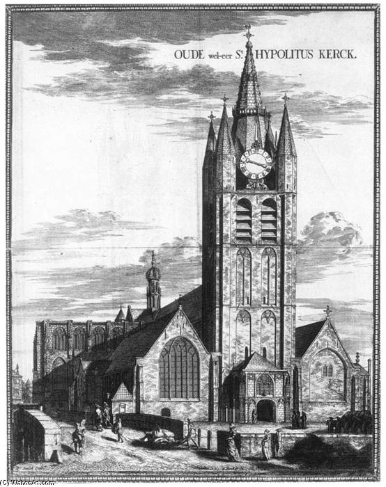 Exterior of the Oude Kerk in Delft, Engraving by Coenraet Decker (1650-1685, Netherlands)