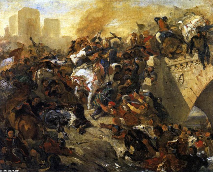 Order Famous Paintings Reproductions : The Battle of Taillebourg (draft), 1834 by Eugène Delacroix (1798-1863, France) | WahooArt.com