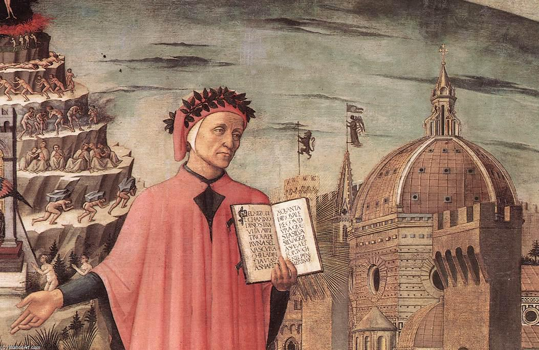 Dante Illuminating Florence with his Poem (detail), Oil On Canvas by Domenico Di Michelino (1417-1491, Italy)