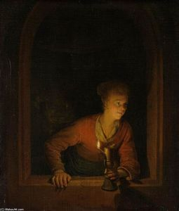 Gerrit (Gérard) Dou - Girl with Burning Oil Lamp