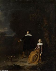 Gerrit (Gérard) Dou - Portrait of a Couple in a Landscape