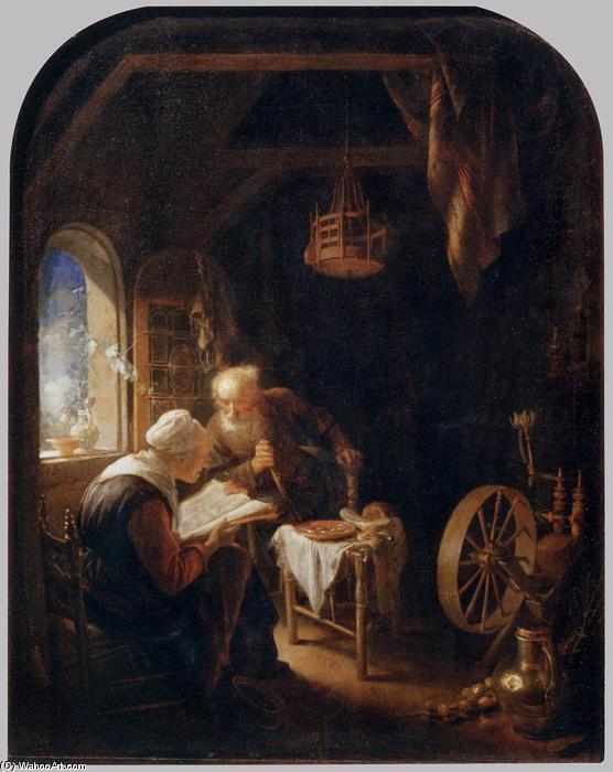 Reading the Bible, 1645 by Gerrit (Gérard) Dou (1613-1675, Netherlands) | Art Reproduction | WahooArt.com