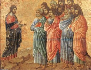 Duccio Di Buoninsegna - Appearence on the Mountain in Galilee