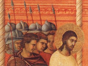 Duccio Di Buoninsegna - Christ Before Pilate Again (detail)