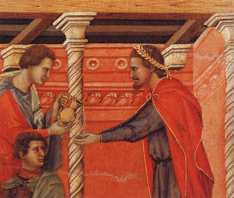 Pilate Washing his Hands (detail), Tempera by Duccio Di Buoninsegna (1255-1319, Italy)