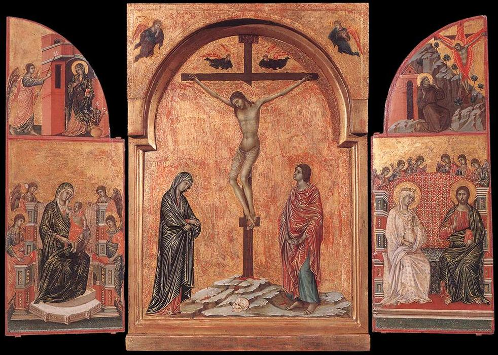 Triptych, Panel by Duccio Di Buoninsegna (1255-1319, Italy)