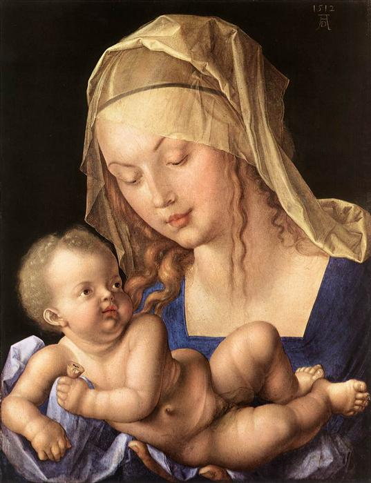 Madonna of the Pear, Oil by Albrecht Durer (1471-1528, Italy)