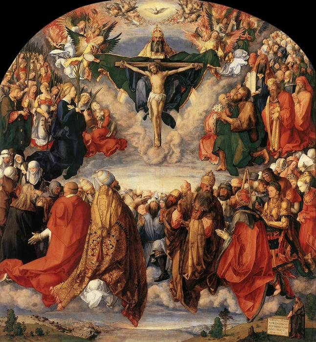 The Adoration of the Trinity, Oil by Albrecht Durer (1471-1528, Italy)