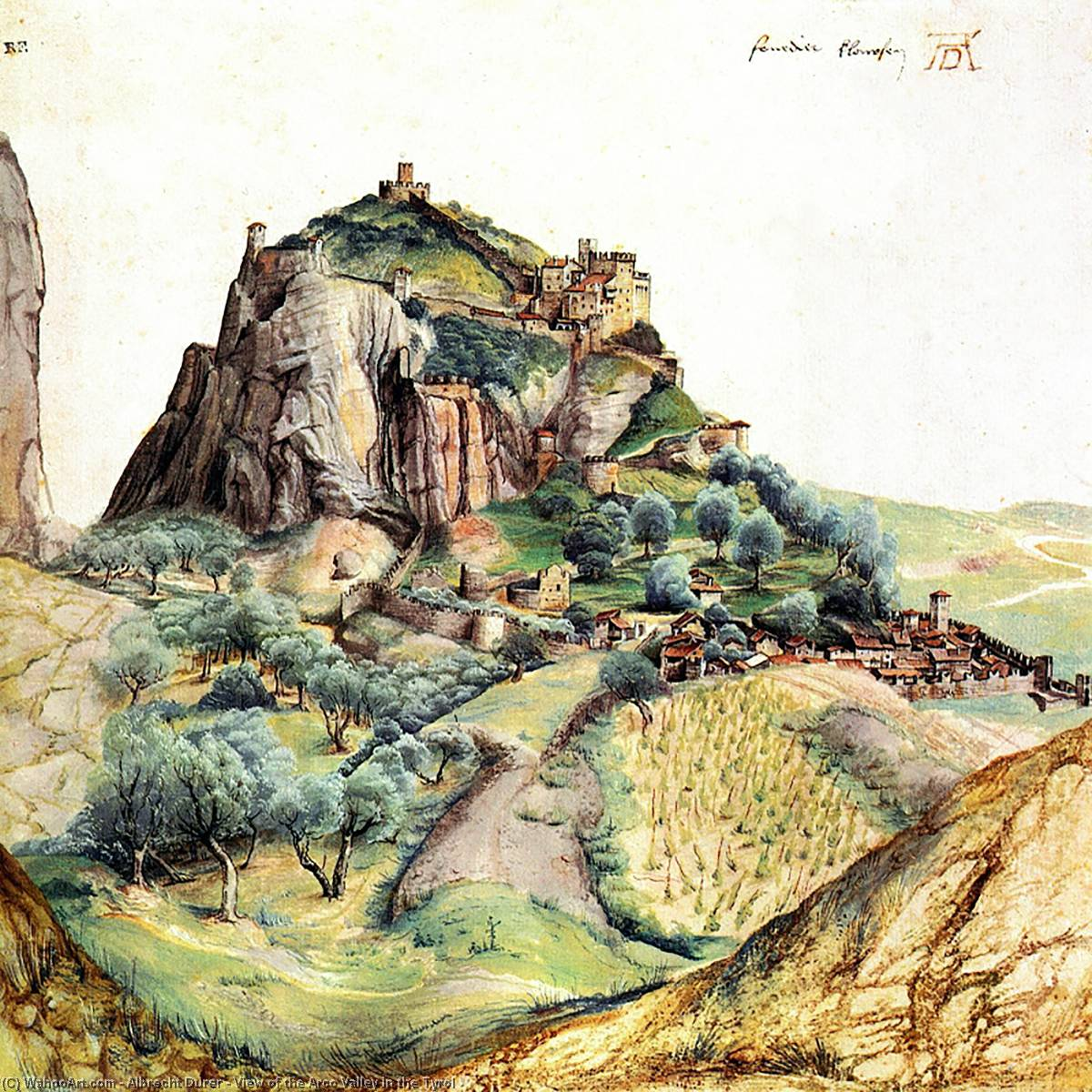 View of the Arco Valley in the Tyrol, Watercolour by Albrecht Durer (1471-1528, Italy)