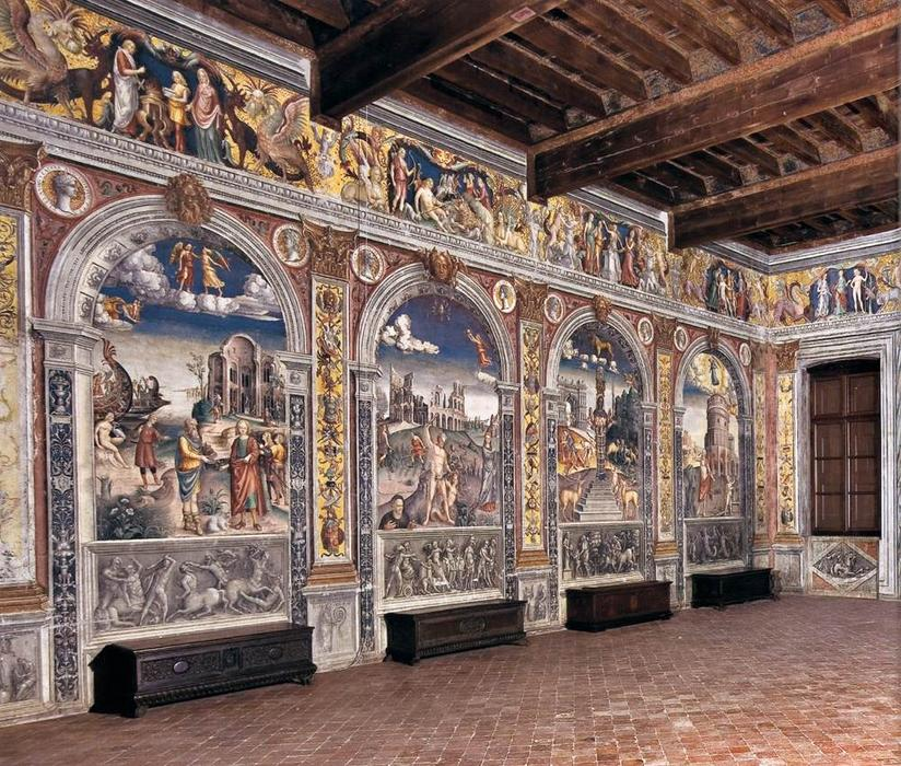 View of the Sala dello Zodiaco, 1515 by Giovanni Maria Falconetto (1468-1535, Italy) | Paintings Reproductions Giovanni Maria Falconetto | WahooArt.com