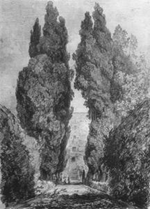 Jean-Honoré Fragonard - Cypresses in the Garden Avenue of the Villa