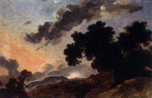 Jean-Honoré Fragonard - Mountain Landscape at Sunset