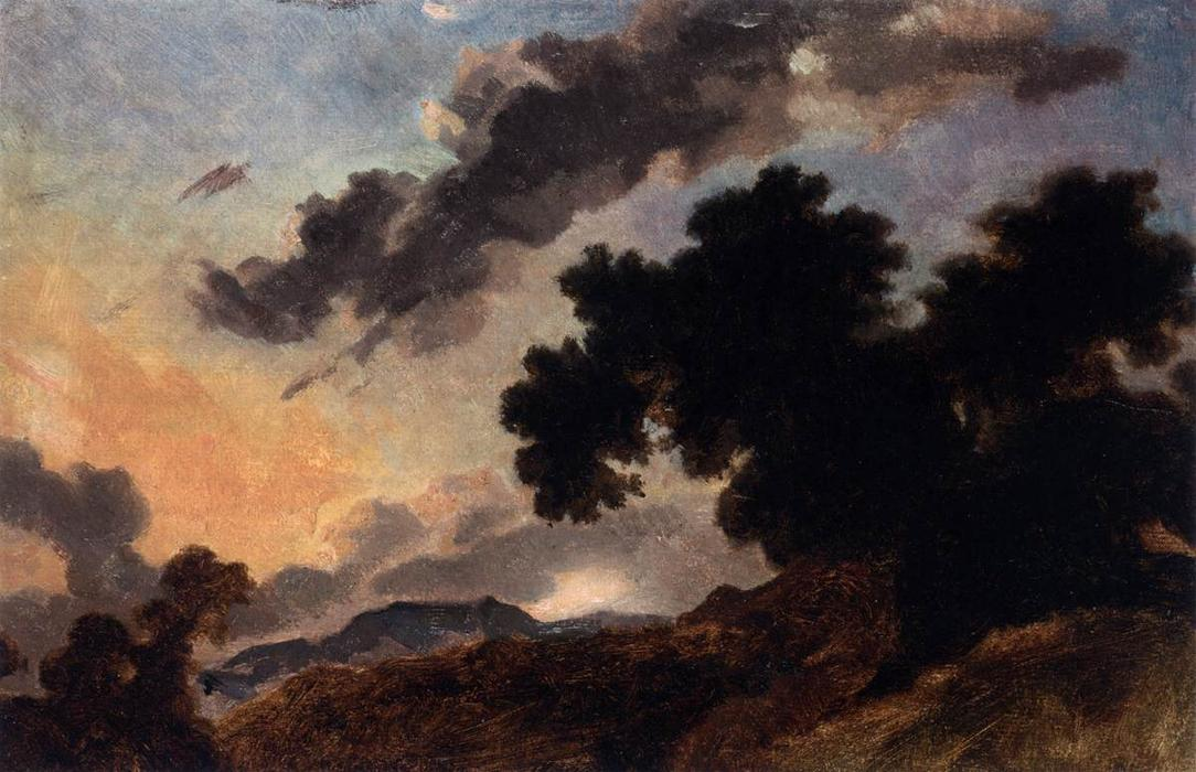 Mountain Landscape at Sunset, 1765 by Jean-Honoré Fragonard (1732-1806, France) | Museum Quality Reproductions | WahooArt.com