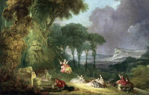 Order Painting Copy : The Swing (detail), 1775 by Jean-Honoré Fragonard (1732-1806, France) | WahooArt.com