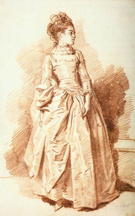 Young Woman Standing, 1775 by Jean-Honoré Fragonard (1732-1806, France) | Art Reproductions Jean-Honoré Fragonard | WahooArt.com