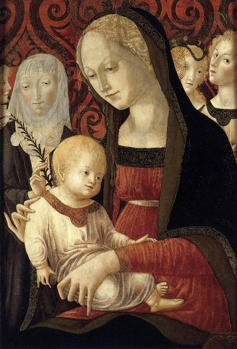 Virgin and Child with St Catherine and Angels, 1490 by Francesco Di Giorgio Martini (1439-1502, Italy) | Painting Copy | WahooArt.com