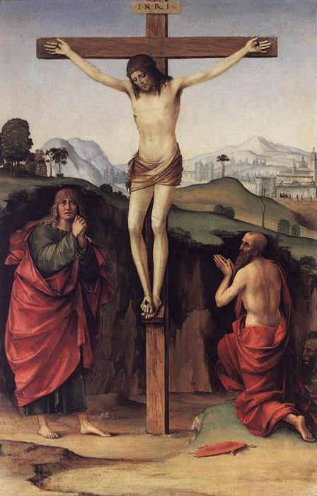 Crucifixion with Sts John and Jerome, 1485 by Francesco Francia (Francesco Raibolini) (1450-1517, Italy) | Famous Paintings Reproductions | WahooArt.com