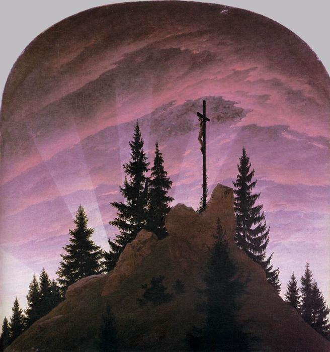 Cross in the Mountains (Tetschen Altar), Oil On Canvas by Caspar David Friedrich (1774-1840, Germany)