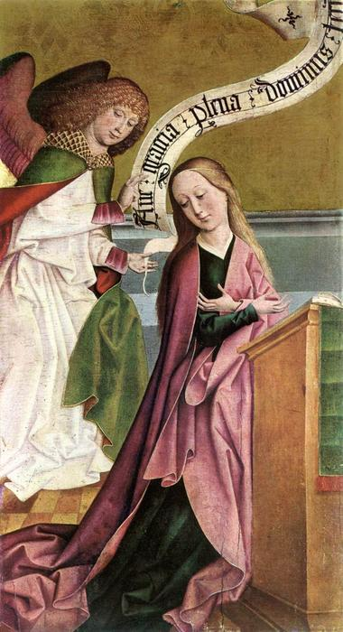 The Annunciation, 1495 by Rueland The Elder Frueauf (1442-1507, Germany) | Oil Painting | WahooArt.com