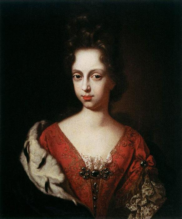 Portrait of Anna Maria Luisa de' Medici as a Young Woman, Oil On Canvas by Anton Domenico Gabbiani (1652-1726, Italy)
