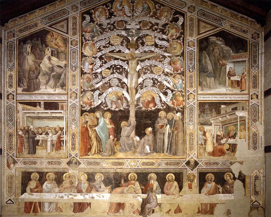 Last Supper, Tree of Life and Four Miracle Scenes, 1360 by Taddeo Gaddi (1290-1366, Italy) | Museum Art Reproductions Taddeo Gaddi | WahooArt.com