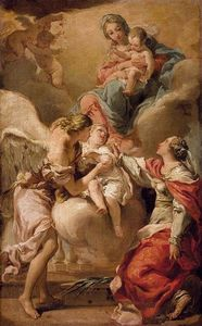 Gaetano Gandolfi - St Giustina and the Guardian Angel Commending the Soul of an Infant to the Madonna and Child