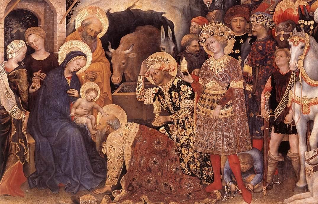 Adoration of the Magi (detail), Tempera by Gentile Da Fabriano (1370-1427, Italy)